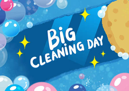 Vector hand drawn Doodle Big Cleaning Day Colorful illustration. Sketchy design background with objects and symbols