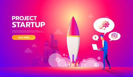 Businessman launches rocket into the sky. Business startup concept vector flat illustration. Employee oversees the takeoff of a spaceship.