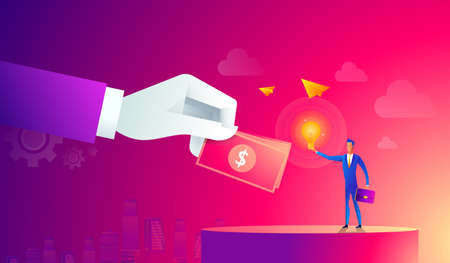 Businessman with light bulb and other hand giving money. Crowdfunding, innovation, idea, investments concept. Flat style icons. vector illustration.