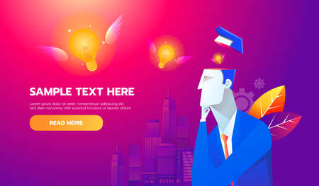 New Idea Concept. Flying bulb from businessman brain, flat design best vector icon. Ilustrace