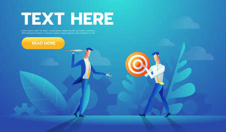 Two businessmen with red and white striped target with a arrow in a concept of business goals and success, cartoon vector illustration on white