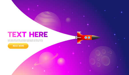 Startup Concept. Rocket launch icon - can be used to illustrate cosmic topics or a business startup, launching of a new company. Ilustração