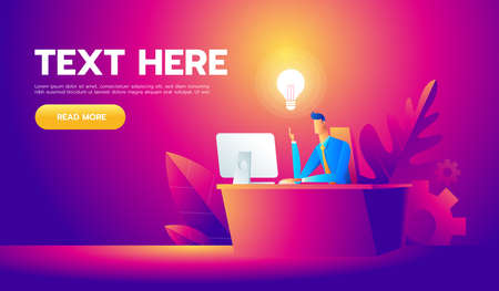 Happy businessman working at his desk and creating a lot of idea bulbs. Business idea concept. Illustration