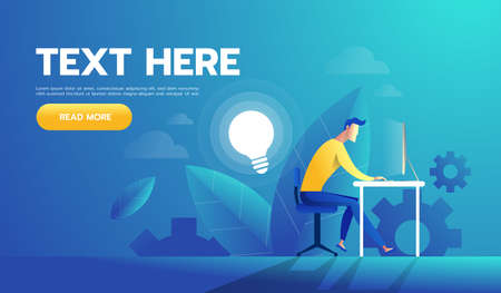 Businessman executive man working in office with idea. Vector illustration