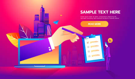 Business man partnership beginning. Partners online signing contract agreement closing deal. Modern flat style thin line vector illustration Çizim