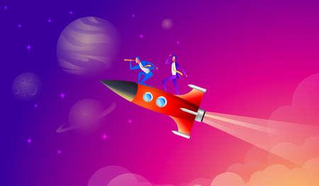 Business team go high to success on a rocket. Vector flat style cartoon illustration