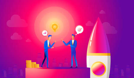 Startup business illustration. Businessmen make a agreement on idea before launching rocket. Innovation technology start up. Spaceship launch to the sky. Reklamní fotografie - 122712120