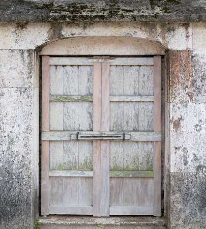 An ancient small door in Shuri castle in Okinawa, Japan