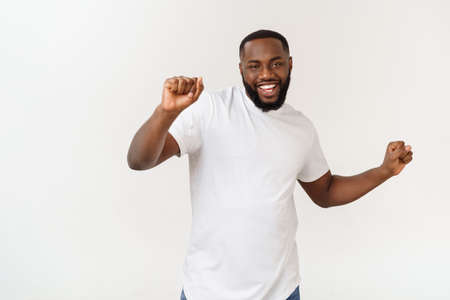 African American hip hop dancer performing isolated over white background.