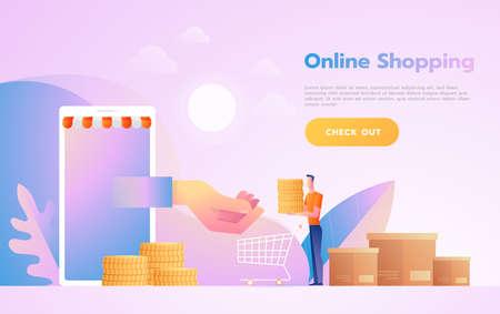 Concepto de comercio electrónico o compras en línea con las manos saliendo de una pantalla de computadora sosteniendo un producto comercial.