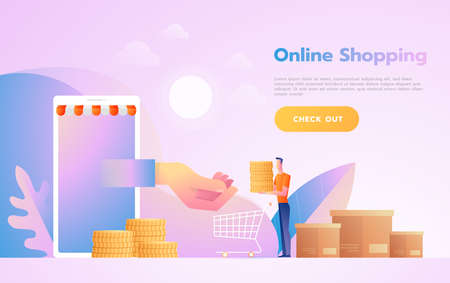 E-commerce or online shopping concept with hands reaching out of a computer screen holding a shopping product.