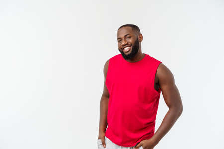 Portrait handsome muscular Black man with cheerful expression 스톡 콘텐츠