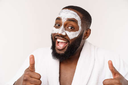 funny laughing man with mask leads healthy lifestyle, showing thumb up. positive emotion in the morning.