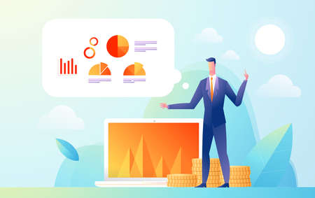 Business man showing presentation to audience with data and graph statistic. Flat Isometric Design illustration.