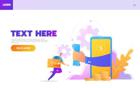 Online shopping people and interact with shop. Landing page template. Flat isometric vector illustration.
