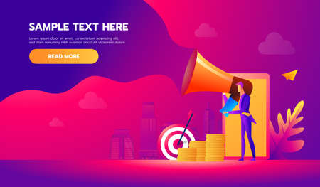 Handsome businessman in formal suit holding megaphone and shouting in it. Happy manager with bullhorn. Business concept. Vector design illustration.