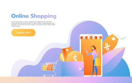 Landing page template of Online Shopping. Modern flat design concept of web page design for website and mobile website. Vector illustration