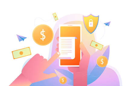 Hand holding smartphone with invoice bill paper , flat style mobile phone with invoice bill paper, concept of online payment. Illustration