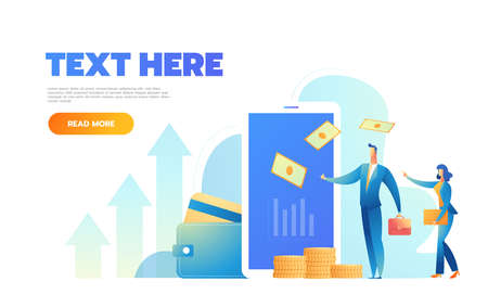 Online Card Payment Concept Landing Page. Easy Payments Banner with Flat People Characters Website Template. Vector illustration