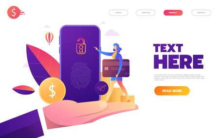 Fingerprint access password, woman with mobile phone, fingerprint personal data guard isometric vector illustration ultraviolet background.