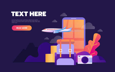 Summer holiday vacation booking online concept with flat icons. Vector illustration