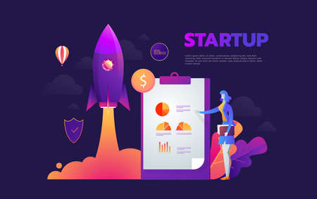 Startup launching process isometric infographic technology online. Business concept vector. Rocket space ship taking off with micro creative people  イラスト・ベクター素材