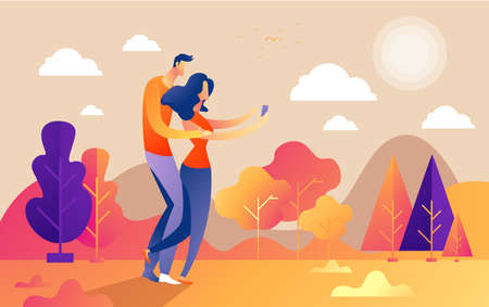 Hello autumn, couple guy and girl characters selfie along the path in the park, fall, autumn leaves, vector, illustration, cartoon style, isolated. Ilustrace