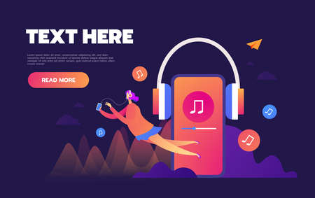 Concept of internet online music streaming listening, people relax listen. Music applications, playlist online songs. Music blog, vector Illustration. Standard-Bild - 133250501