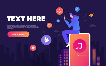 Young man dancing to the music playing on his phone. The concept of listening to music on social networks. Landing page concepts and web design Standard-Bild - 133250505