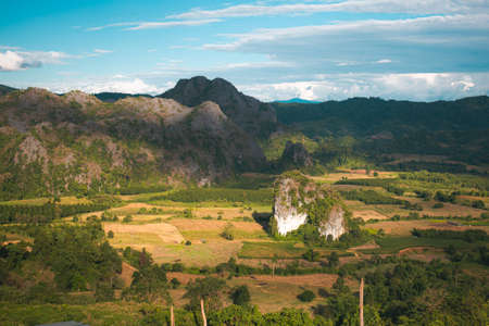Landscape. Beautiful sunrise at Phu Lang Ka, Phayao in Thailand. Reklamní fotografie