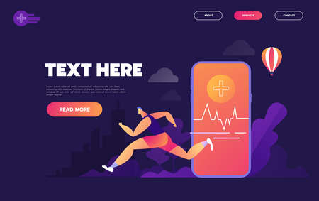 Isometric flat vector concept of fitness tracker, smart watch,smart phone sport and healthy lifestyle. - Vector illustration