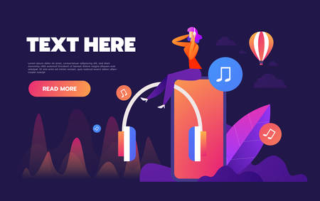 Concept of internet online music streaming listening, people relax listen. Music applications, playlist online songs. Music blog, vector Illustration