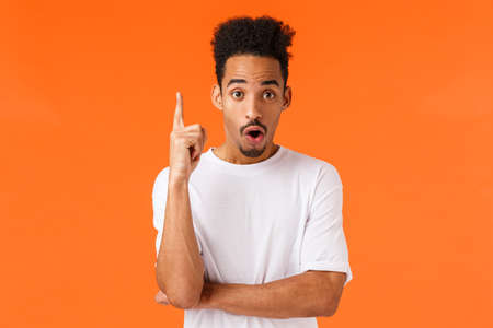 Guy have great idea. Attractive african-american young college student raise index finger in eureka gesture, saying his plan, found solution, answer question, suggest resolve, orange background Banco de Imagens