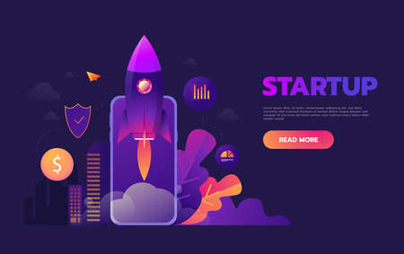 Start up business concept for mobile app development or other disruptive digital business ideas. Cartoon rocket launching from smart phone tablet Ilustração