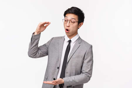 Waist-up portrait of excited good-looking asian office worker telling client about big income opportunities, describe project shaping big object, large sum of money, look amazed 版權商用圖片