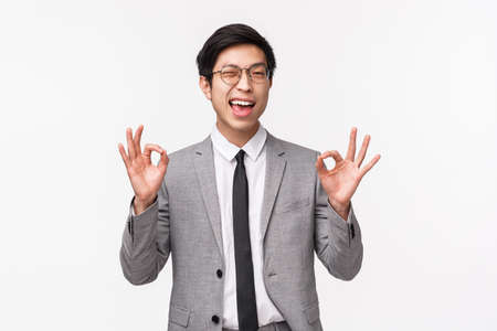 Waist-up portrait of carefree, unbothered and assured young asian male office manager, businessman assure client everything under control, guarantee safety and quality, show okay signs and wink