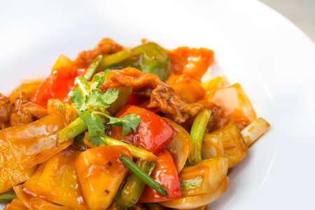 Thai food Chicken sweet and sour. Copt Space. Standard-Bild