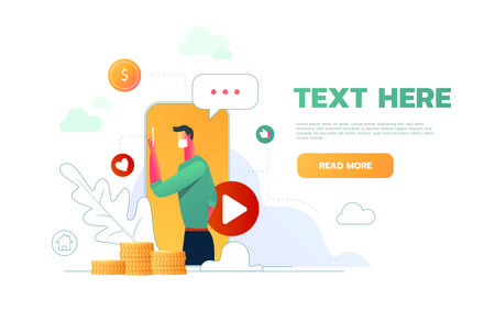 Video blogger web page design with master class how to make money presentation favorite blogs chat flat icons vector illustration.