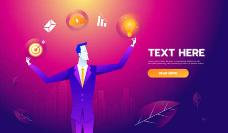Multi Skill Concept. Businessman with business icons and skills. Concept business vector illustration