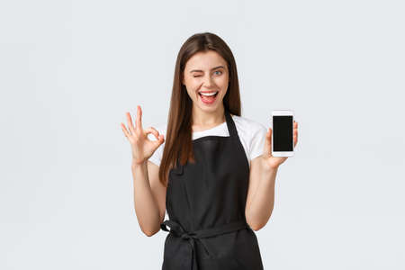 Grocery store employees, small business and coffee shops concept. Pleased good-looking girl barista in black apron show okay sign and mobile phone display, recommend cool application