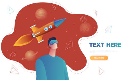 Isolated character young man in a virtual reality helmet, launch space rocket flight.Concept of science fiction and space,VR . Flat cartoon colorful vector illustration. Vektoros illusztráció