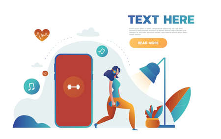 Young women are standing near big smartphone with app for sport and fitness tracking heart beating data and getting information of pulse rate