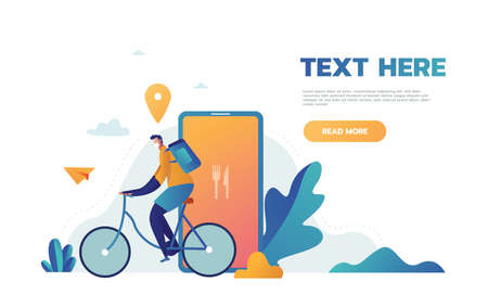 Courier bicycle delivery man with parcel box on the back. Ecological city bike delivering service illustration with modern cyclist carrying package. Food delivery boy