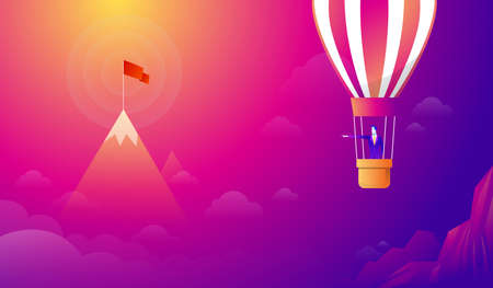 Businessman standing on Balloon looking with the binocular go to red flag on sky between mountain. go to business success goal. creative idea. leadership. illustration vector.
