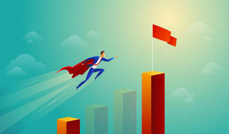 Super businessman in red jump bar chart flying to goal. Business concept.