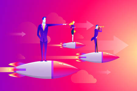 Businessmen team standing on rocket ship flying through on sky. Start up business concept. Vector flat