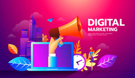 Modern flat style illustration of megaphone and different icons for Digital Marketing concept. Ilustración de vector