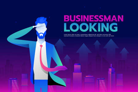 Businessman with looking forward to success with City background, Business concept, vector 10