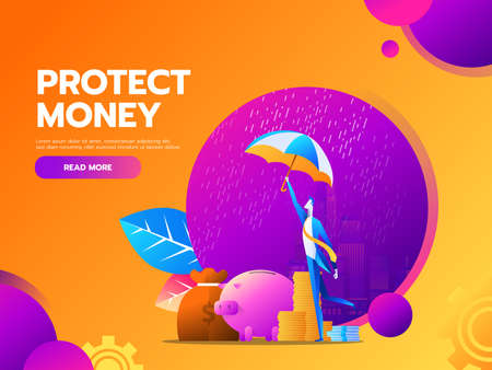 flat vector business financial and money protection concept with business man hold umbrella. Stock Illustratie