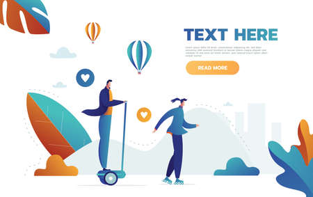 Character playing on and standing on hoverboard. Idea of modern technology. Active outdoor lifestyle. Vector illustration in cartoon style